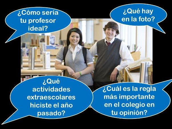 Spanish GCSE Higher school photo card practice
