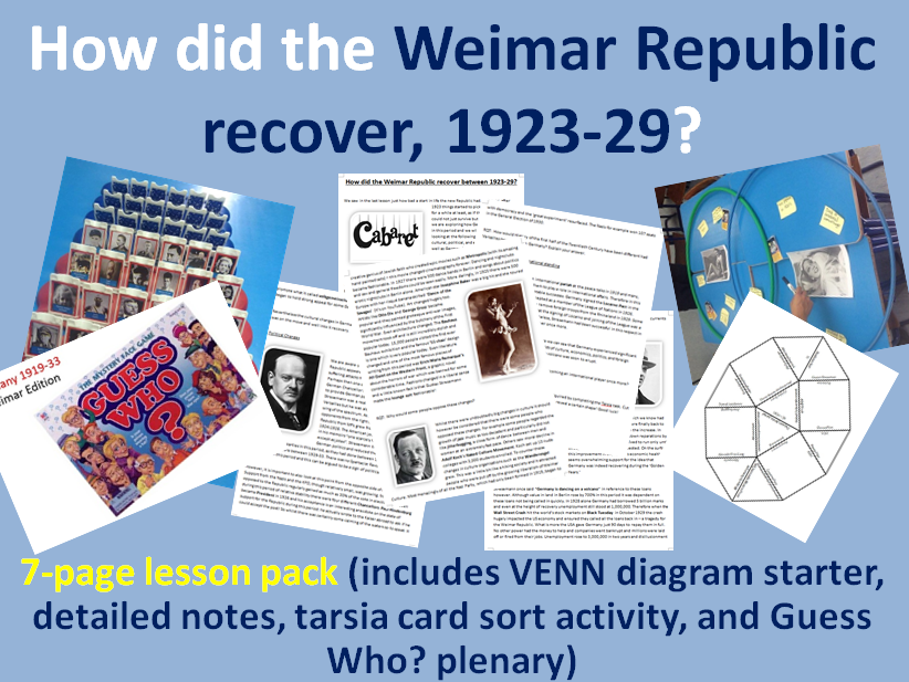 Weimar Golden Years - 10-page full lesson (starter, notes, tarsia card sort, Guess Who? plenary)