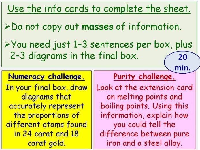 Alloys and Pure Metals Year 8 Lesson PowerPoint (KS3 8Ge) Metals and their Uses Topic