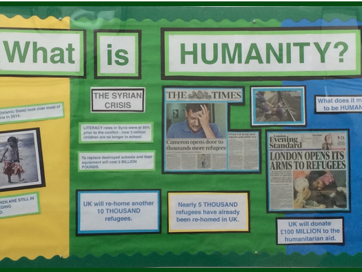 WHAT IS HUMANITY?  Display material about the SYRIAN CONFLICT.