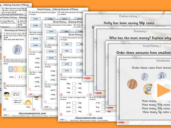 Year 4 Ordering Amounts of Money Summer Block 2 Lesson Pack