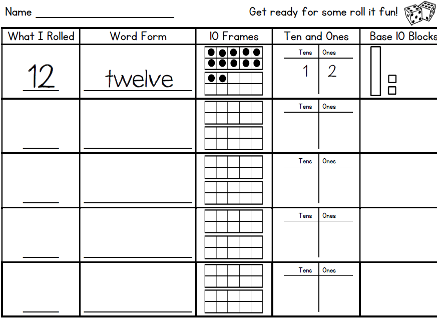 Roll It Math Fluency Sheet