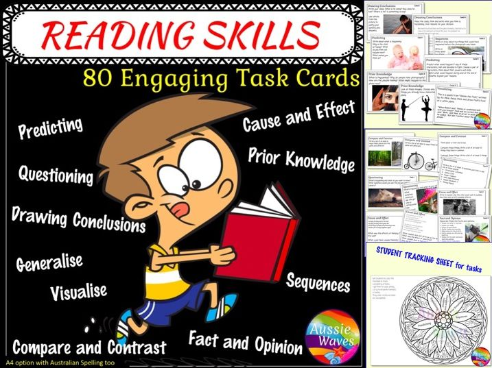 Printable Literacy Centre Activities Task Cards for Reading Comprehension Skills