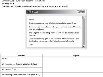 German GCSE Reading Translations