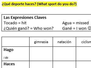 Animal Cell Worksheet Answers Word Primary Spanish Resources Verbs And Tenses Newtons Laws Worksheet Pdf with More Or Less Math Worksheets  X Battleships Games Sports And Other Activities In Spanish With Hacer Subtract Worksheets Pdf