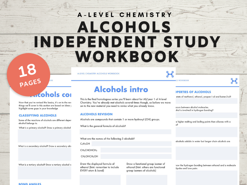A-Level Chemistry Alcohols independent study workbook
