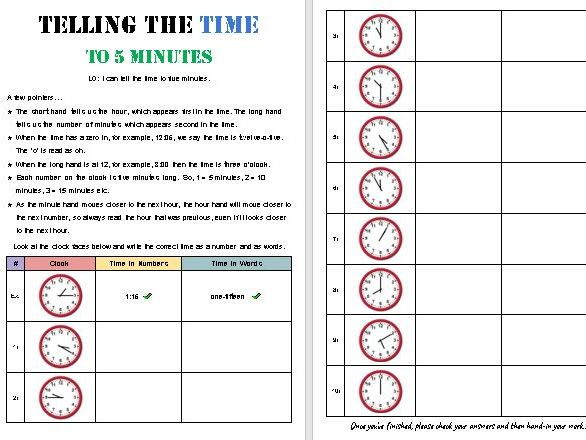 Telling the Time to 5 Minutes [Designed for Online]