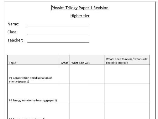 AQA trilogy physics revision paper 1 booklet HT