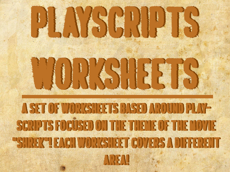 Play-scripts worksheets
