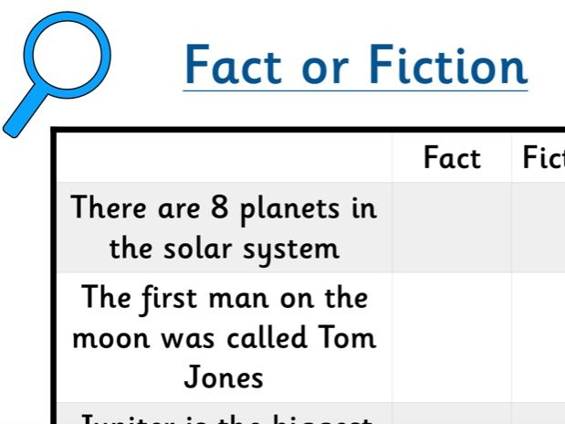 Space themed Fact of fiction sorting.