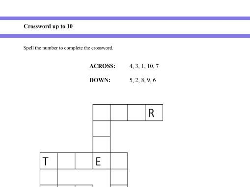 Crossword to learn written numbers up to 10 for Year 1 and Year 2 students