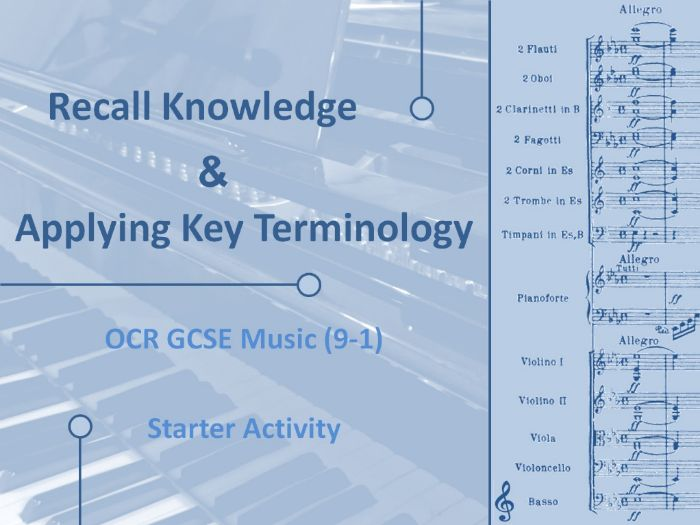 OCR GCSE Music - Recall Knowledge and Key Terminology Starter - AOS2 - The Concerto Through Time
