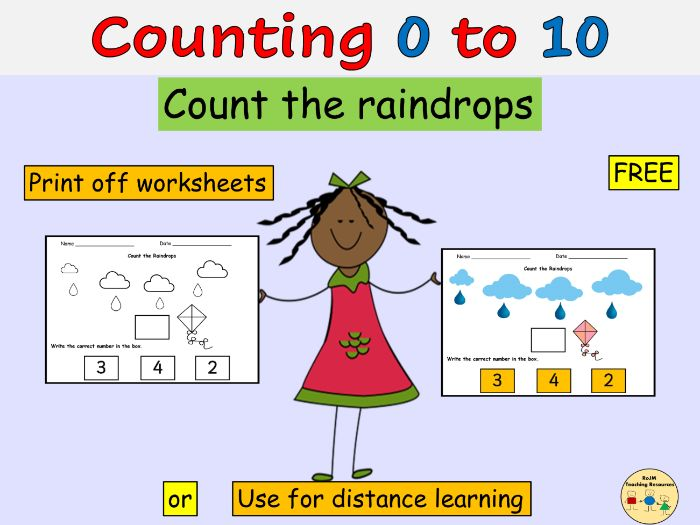 Counting Count Numbers Raindrops to 10 Worksheets