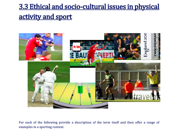 OCR GCSE P.E. (9-1)  - 3.3 Ethical and socio-cultural issues WORK BOOKLET