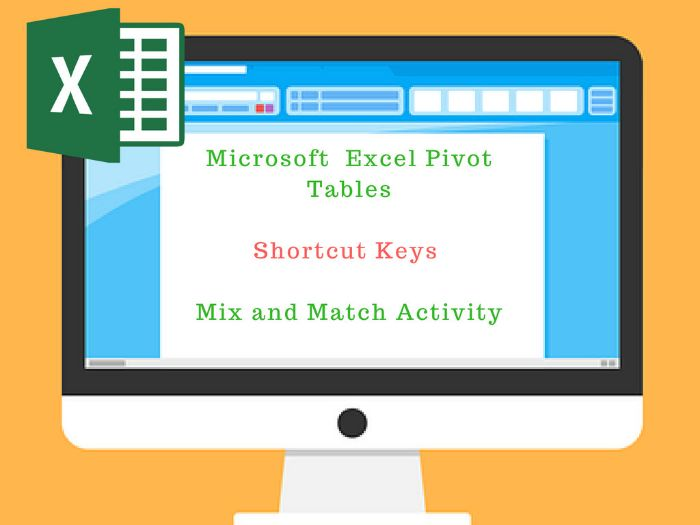 Pivot Tables Shortcut keys Mix n Match Activity