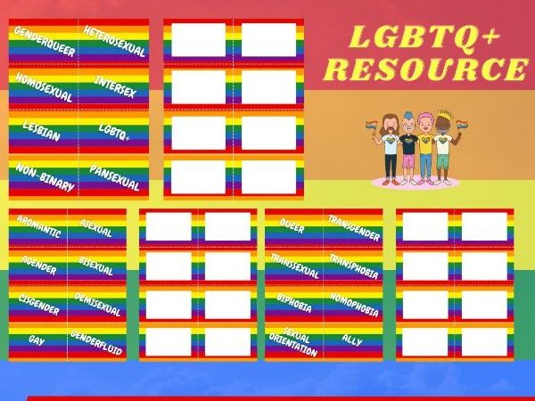LGBTQ+ PRIDE MONTH  X24 TASK CARDS. GENDER IDENTITY / SEXUAL ORIENTATION / LGBT TERMS