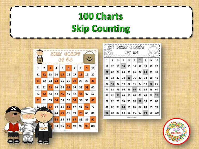 100 Number Charts with Skip Counting - Halloween