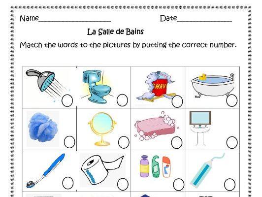 La Salle de Bains (French Bathroom) Distance Learning worksheets