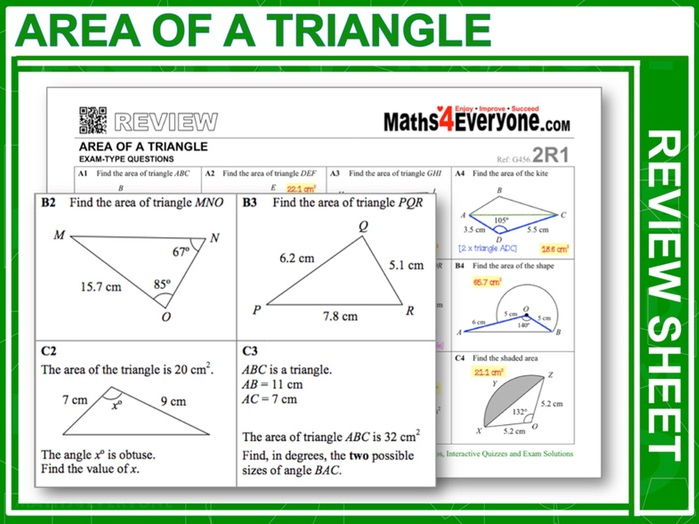 Area of a triangle using sine worksheet pdf