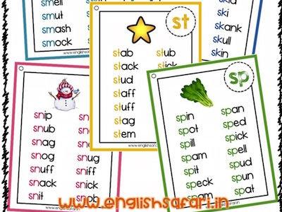 Blend words list - st sm sn sp sc sk sw tw