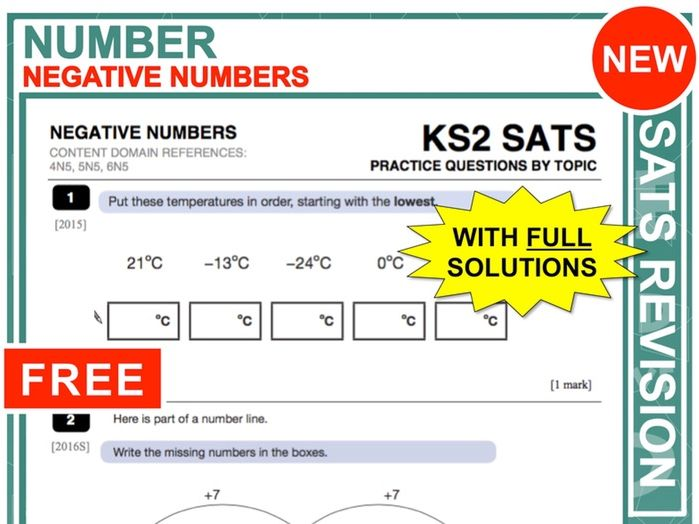 Y6 Maths SATs Revision (Negative Numbers)