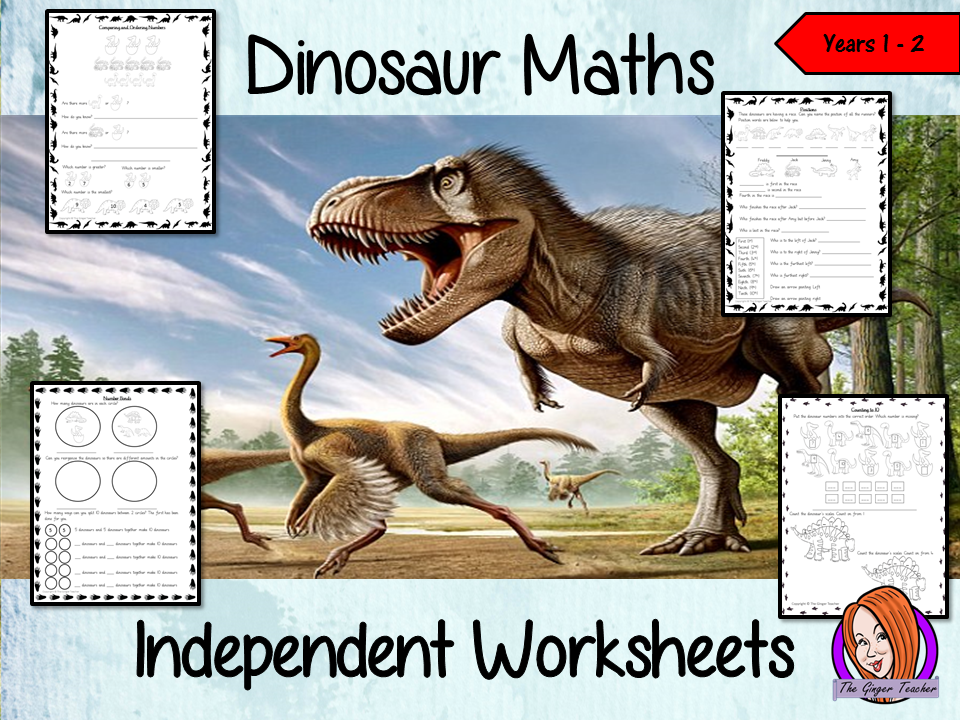 Dinosaur Themed Independent Maths Work  - Years 1/2