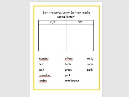 KS1. Sort the words that require a capital letter.