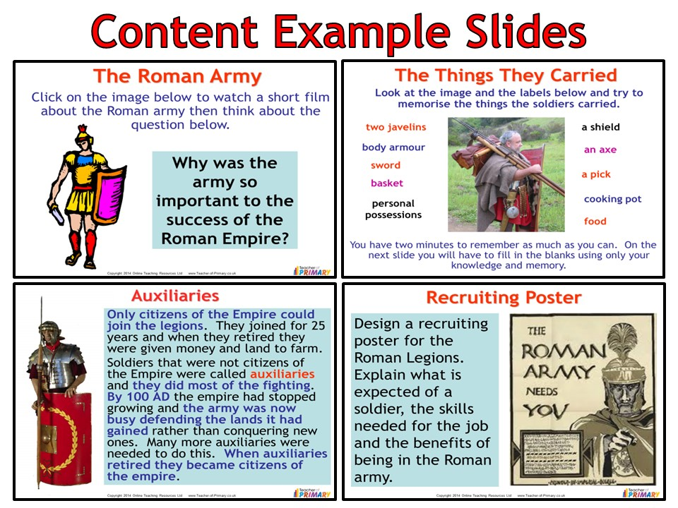 The Roman Army (Powerpoint with Worksheets)