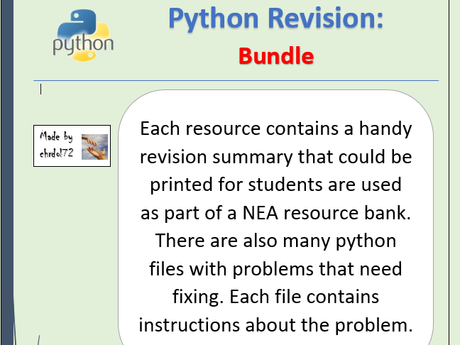 Python Revision and Activities - Bundle (9 pack)