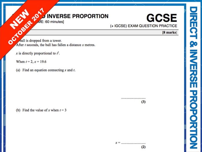GCSE 9-1 Exam Question Practice (Direct and Inverse Proportion)