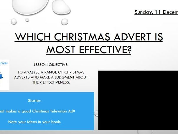 Christmas Advert's Analysis - Brilliant Xmas Lesson for English Classes