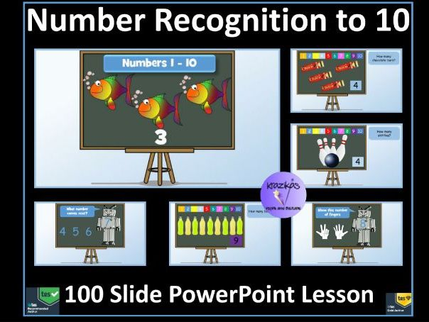 Number Recognition to 10: Numbers 1-10 PowerPoint Lesson