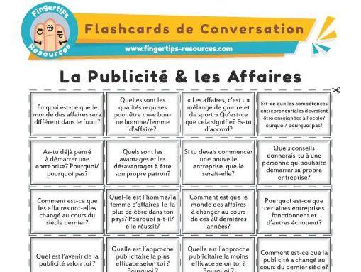La Publicité & les Affaire - French Conversation Flashcards