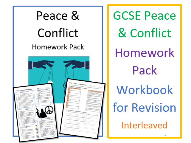 GCSE RS Religion, Peace and Conflict Homework Pack - Workbooks for Revision