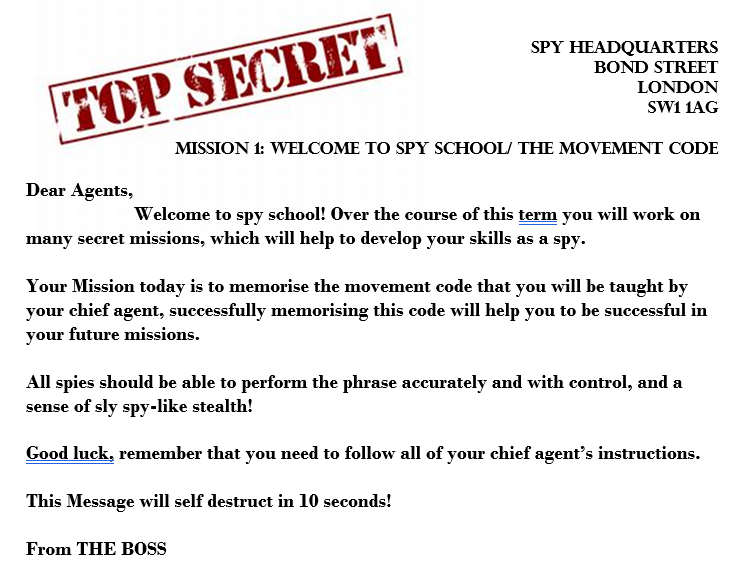 TOP SECRET! Year 7 Dance SOW