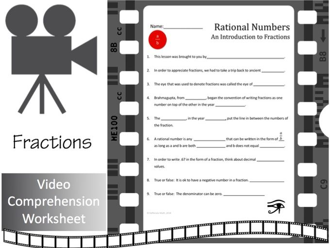 Introduction to Fractions--Video Comprehension  Worksheet/Activity