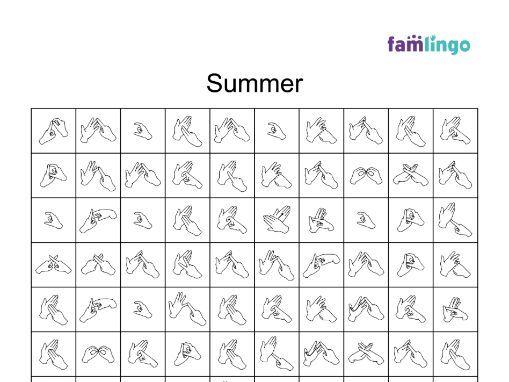 Summer BSL Fingerspelling Word Search (10x10 Grid)