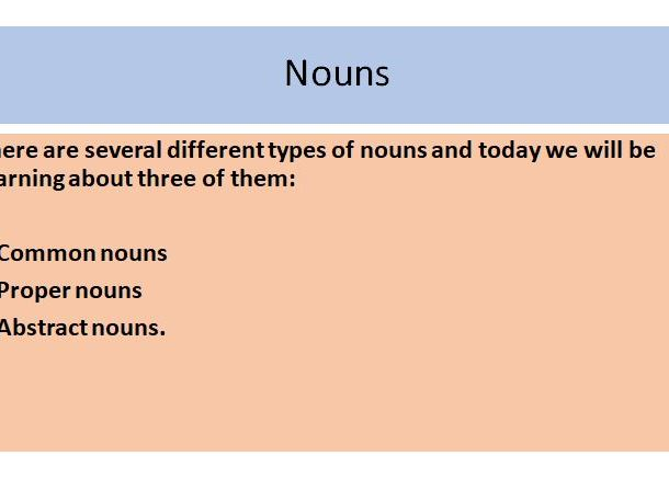 Nouns - common, proper and abstract