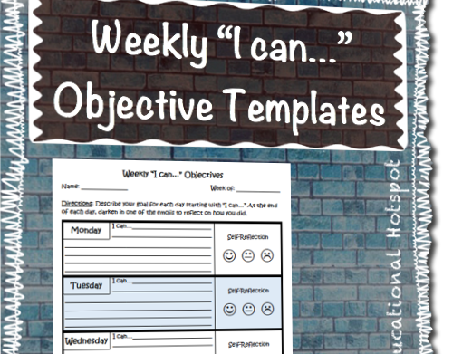 "Weekly ""I can..."" Objectives Differentiated Template"