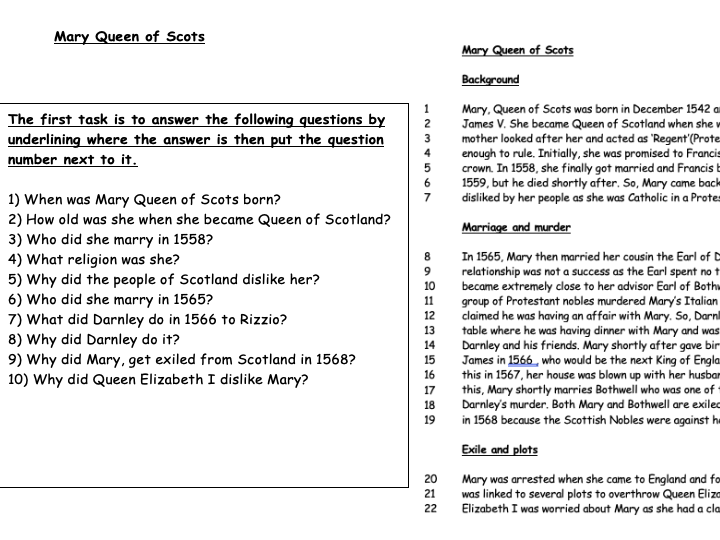 Mary Queen of Scots less scaffolding worksheet