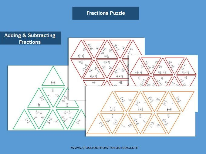 Adding & Subtracting Fractions Puzzles
