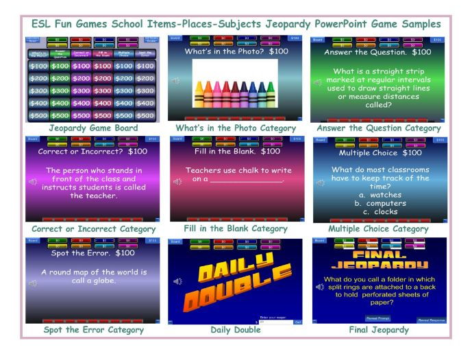 School Items-Places-Subjects Jeopardy PowerPoint Game