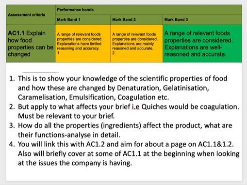 Unit 3 - Level 3 Food Science and nutrition break down of the ACs