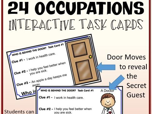 Interactive Occupations Task Cards Game - Google Slides - Distance Learning
