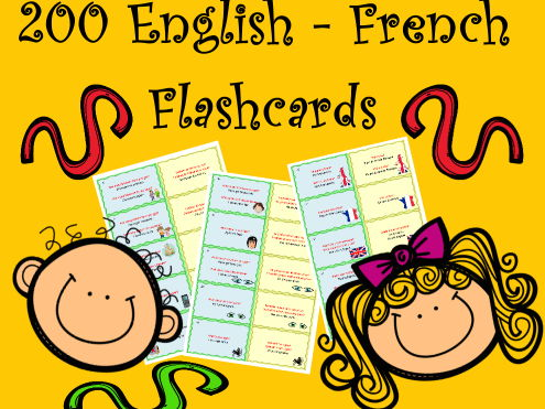200 English French Flashcards to study or revise vocabulary and grammar