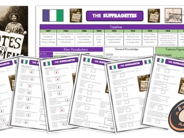 Suffragettes  - Knowledge Organisers and Mini-Quizzes