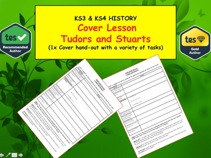 Cover Lesson on Tudors and Stuarts for KS3 Students History Lesson Worksheet