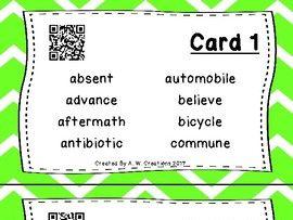 Highlight the Prefixes QR Code Task Cards