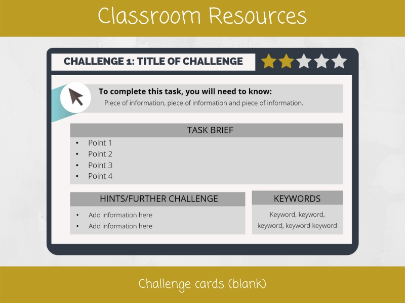 Challenge cards (blank)