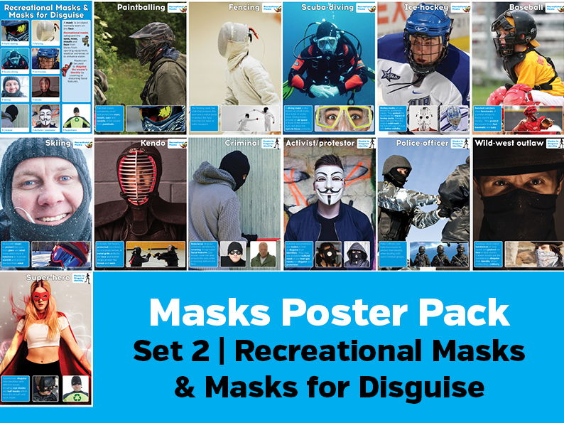 Types of Masks Poster Pack 2- Recreational Masks and Masks to Disguise Identity
